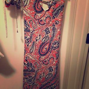 Ann Taylor Orange/Navy Dress - size 2